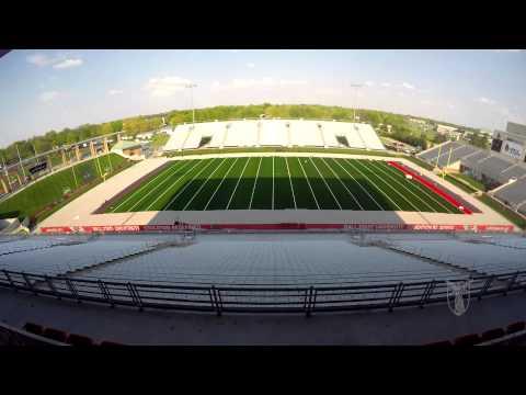 Ball State University's Scheumann Stadium field turf installation time-lapse