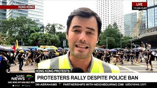 Hong Kong protesters march despite police ban