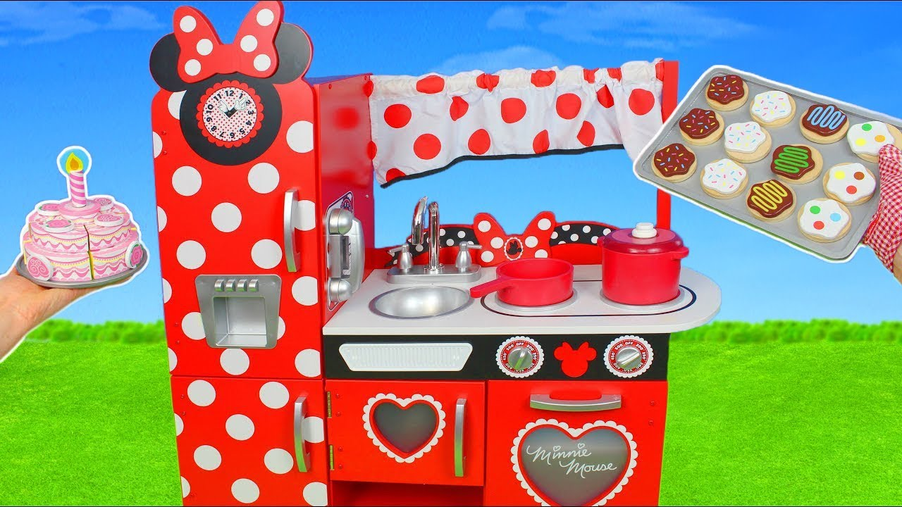 Minnie Mouse Kitchen Toys Cooking Food W Velcro Cutting Fruits Play Doh For Kids Youtube