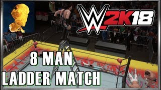 WWE 2K18 Exclusive Gameplay: 8 MAN LADDER MATCH with VANDAMINATOR and New Five Star Frog Splash!