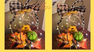 Dollar Tree Fall Centerpiece Table Arrangement DIY Pumpkin