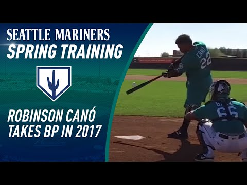 Robinson Cano takes batting practice