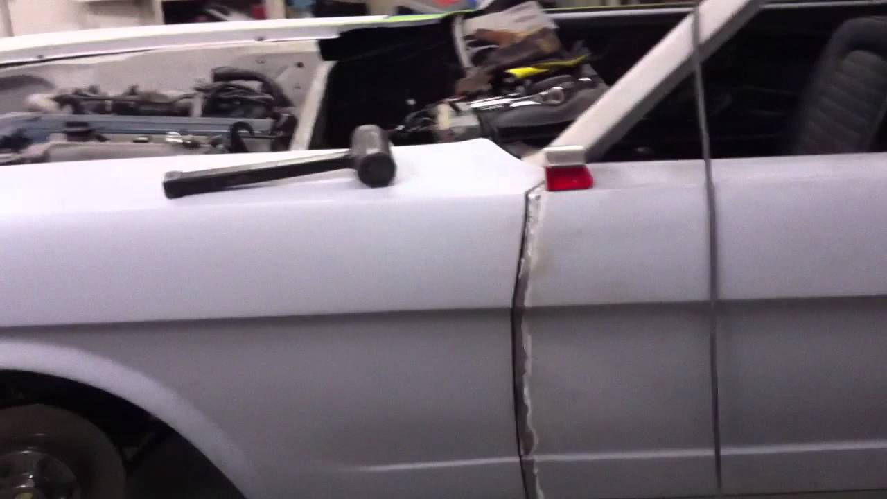 65 Mustang Restoration Driver Side Panel Gap Fitting