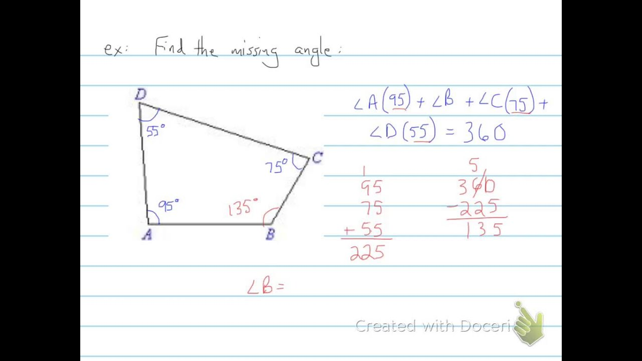 Finding The Missing Angle In Quadrilaterals 6th Grade Youtube
