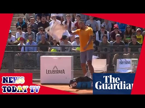Nick Kyrgios throws chair and walks off court during Rome Open match – video