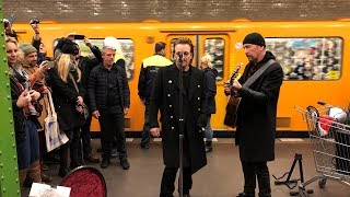Bono and The Edge do a surprise performance at Berlin's underground...