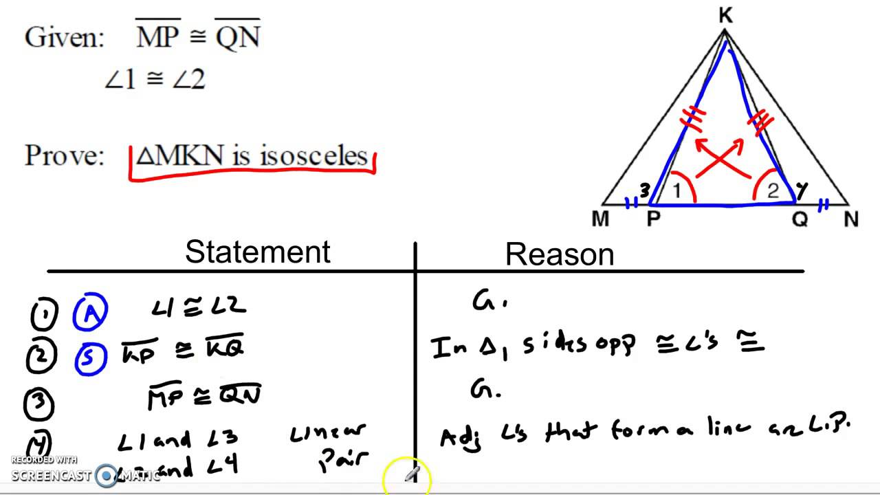 Working with Isosceles Triangle Theorems - YouTube