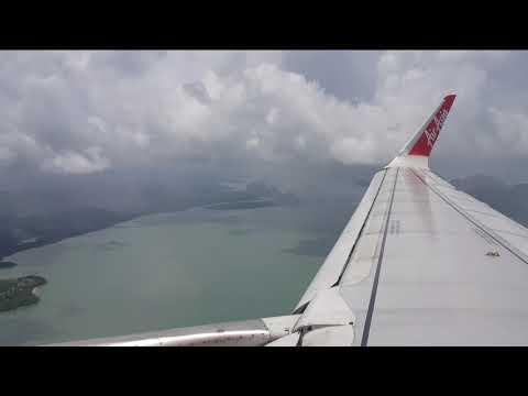 Flight to and landing at Phuket airport / Andaman sea / Phang Nga Bay