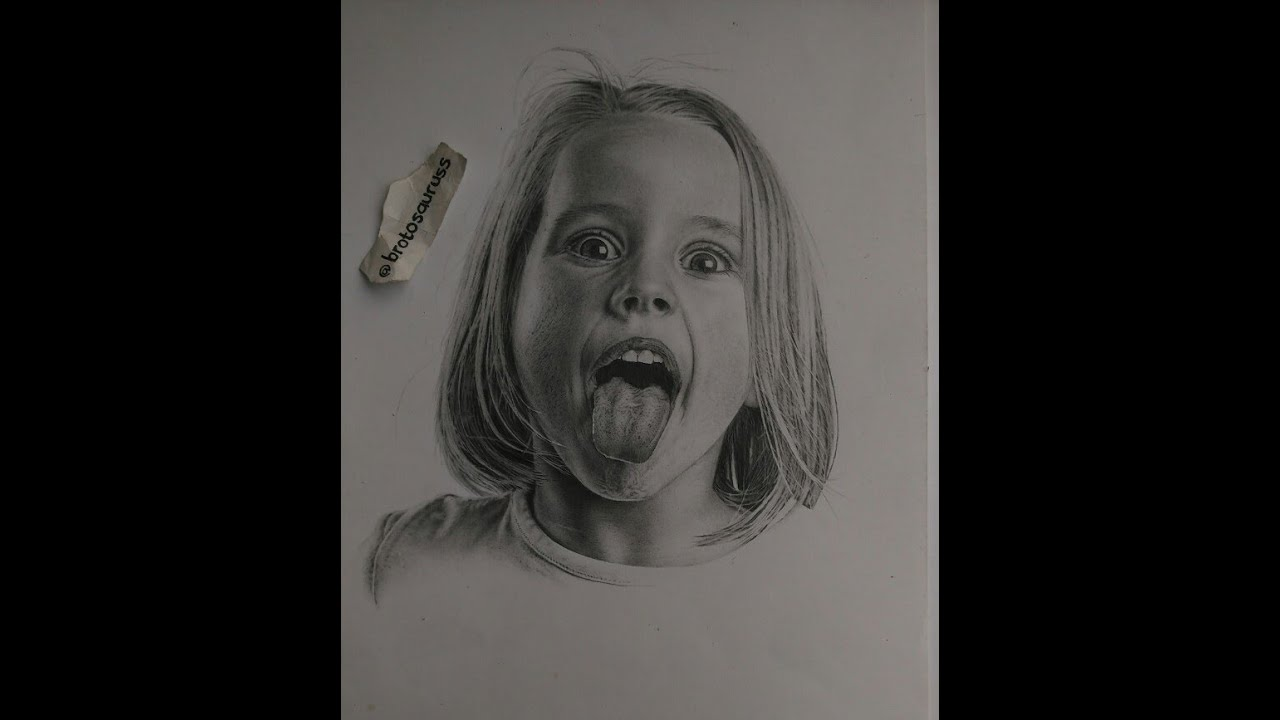 Pencil drawing portrait kids
