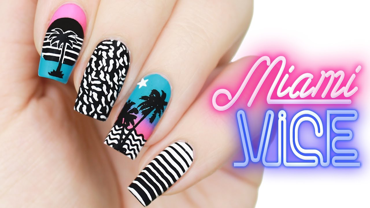 Miami Vice 80s Inspired Neon Palm Tree Beach Nail Art Moyou London Stamping