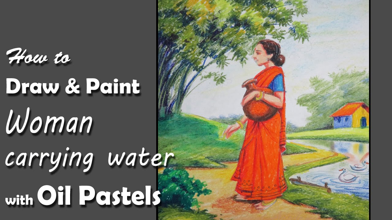How to Draw & Paint Woman carrying water(Indian subcontinental type ...