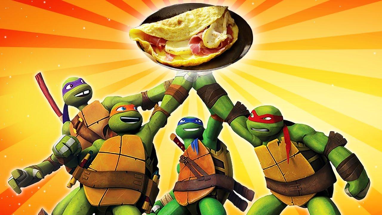 Cocinamos una tortilla de jamón y queso con las Tortugas Ninja. Cocina para niños