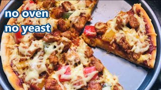 Chicken Pizza Without Oven and Yeast Recipe Video | How to make chicken pizza at home