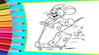 РАСКРАСКИ! Раскрашиваем картинки для детей из мультфильмов Том и Джерри, Джерри на самокате