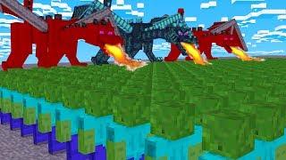 3 DRACHEN gegen 500 ZOMBIES! (Minecraft)