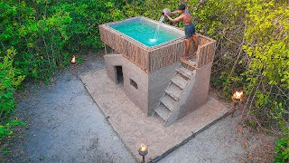 1 Month of Log Cabin Building My Dream House with Swimming Pools (Mud & Wooden)