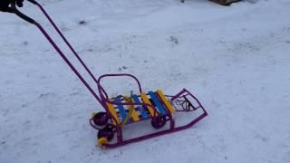 Санки с 4-мя колесами Тимка 5 Универсал сиреневые