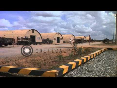 Trucks parked outside tents at the headquarters of United States Army  7th Mainte...HD Stock Footage