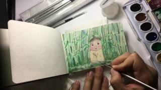 Baby Princess Kaguya playing in the bamboo forest - Watercolor art by Kristoffer Panes