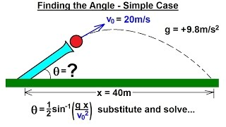 Physics - Mechanics: Projęctile Motion (2 of 4) Finding the Angle - Simple Case: Example