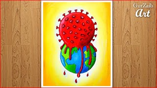 How to draw Coronavirus drawing || covid 19 on nature poster painting || step by step easy