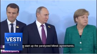 Merkel Said Goodbye to Putin in Russian and Kissed Macron