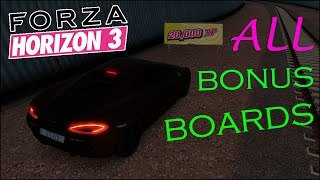 Forza Horizon 3 - All Bonus Board Locations (XP + Fast Travel Boards) Locations on FH3 Map