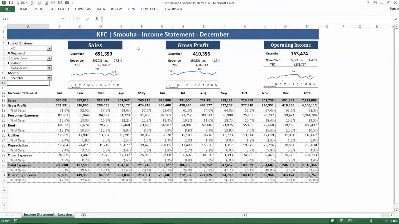Beautiful [Arabic] Dynamic Income Statement Microsoft Excel (Demo) Regarding Income Statement Microsoft