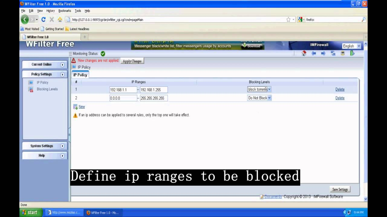 How to block torrent downloading with WFilter Free?