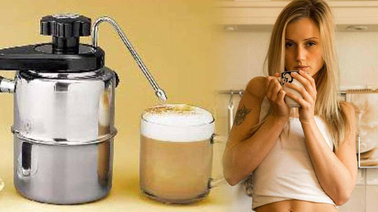 stove milk frother. Stovetop Milk Steamer, Making Cappuccino Using Frother And Espresso Maker Stove A