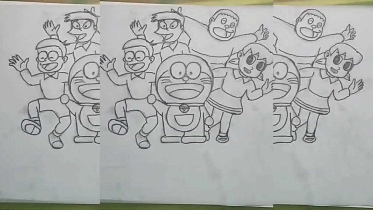 Menggambar Kartun Jepang Doraemon Ada Nobita Terus Giant Dan