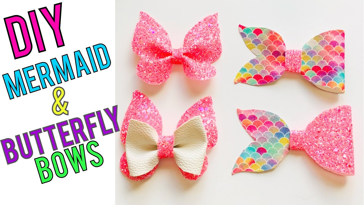 Leather Mermaid And Butterfly Hairbow Tutorial Diy Faux Leather Bows