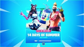 "The New! ""14 DAYS OF SUMMER"" Challenges In Fortnite! (Free Rewards!)"
