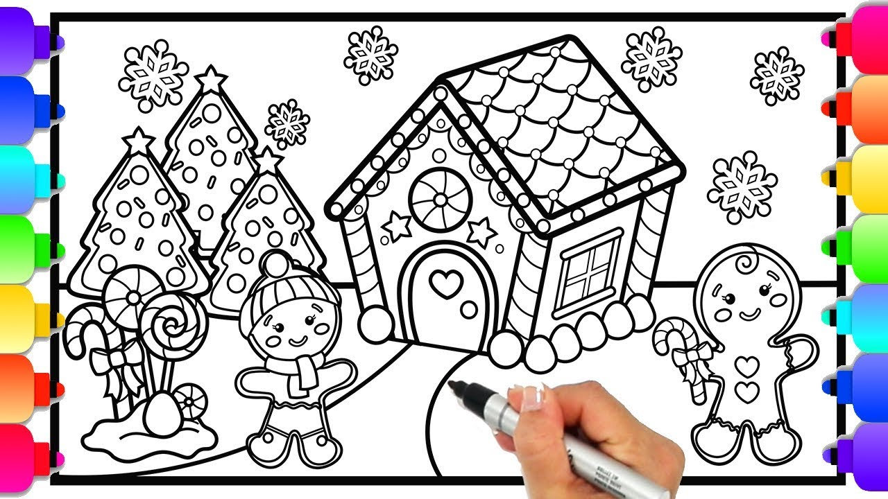How to draw a gingerbread house christmas coloring page for kids glitter candy art 🎄💛🎄💛🎄