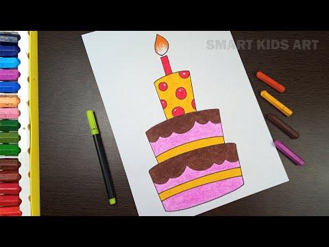 How To Draw a Birthday Cake   Birthday Cake Drawing   Birthday Cake   Smart Kids Art