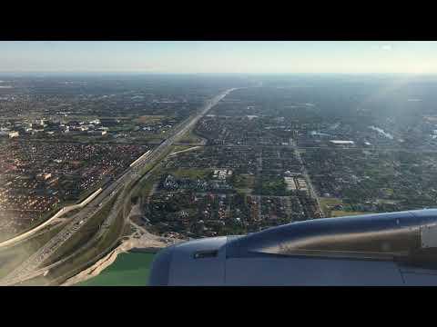 Miami International Airport MIA Florida Beautiful Landing of American Airlines Flight