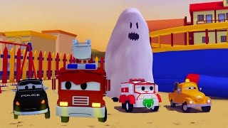 The Car Patrol: fire truck and police car and Ghost scaring the babies in Car City Special HALLOWEEN