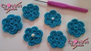 كروشيه وردة بسيطة لتزيين شغل الكروشيه // How to Crochet a simple flower