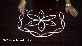 creative kolam designs with 5 dots - beautiful rangoli art designs - dots muggulu designs