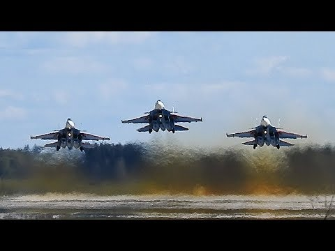Русские Витязи Су-30СМ. Репетиция 4мая.  Взлёт, роспуск, посадка.