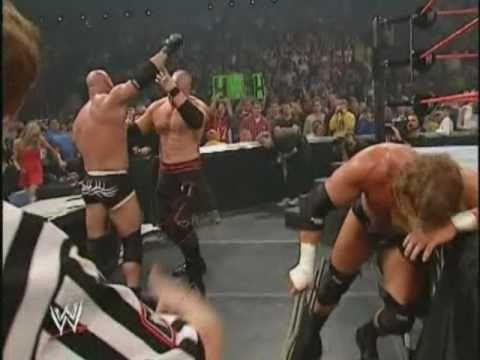 Goldberg vs Triple H vs Kane 2003  HighLights