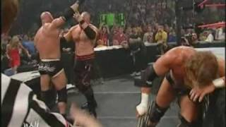 Goldberg vs Triple H vs Kane 2003  HighLights
