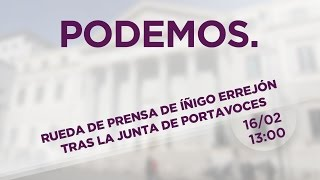 Rueda de Prensa de Íñigo Errejón tras la junta de portavoces