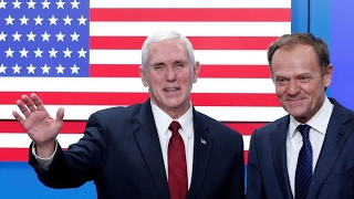 Tusk President of the European Council and Vice President Pence hold press conference in Brussels