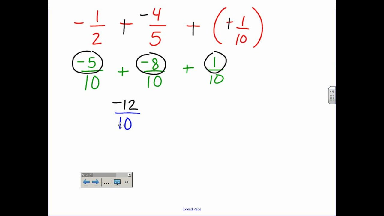 Adding And Subtracting Fractions Amp Mixed Numbers Wmv