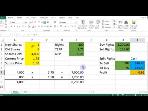 Rights Issue Calculator, Excel Library, Video 00006