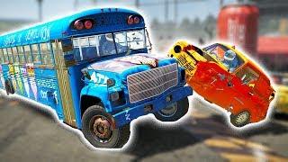 SCHOOL BUS VS 23 TINY CARS! DEMO DERBY DESTRUCTION! - Wreckfest UPDATE Gameplay