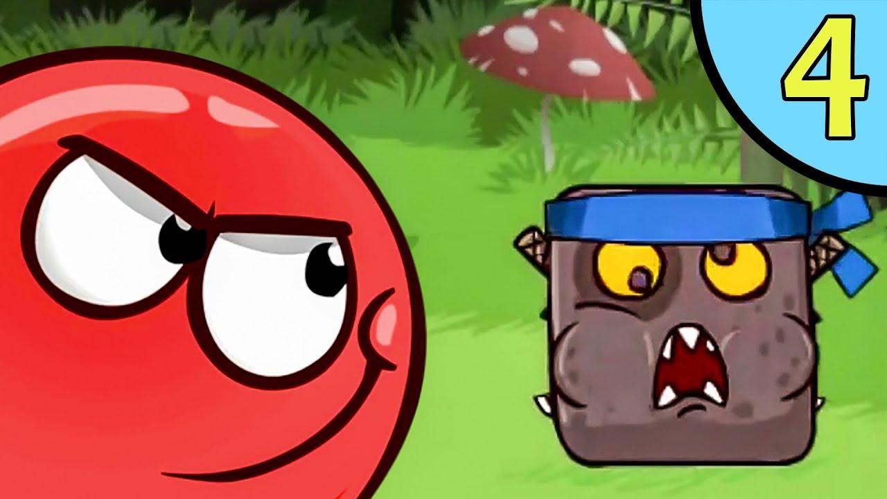 Несносный КРАСНЫЙ ШАР против чёрного квадрата #4. Мультик ИГРА для детей Red Ball 4 на Игрули TV