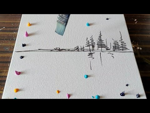 Easy Abstract Painting Demo / Northern Lights / For Beginners / Relaxing/Daily Art Therapy/Day #0137