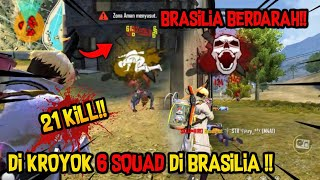 LAWAN 6 SQUAD SENDIRIAN DI BRASILIA !! SOLO VS SQUAD 21 KILL FREEFIRE BATTLEGROUND